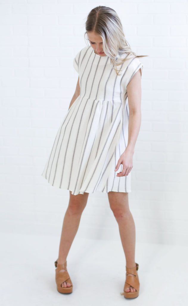 clear skies striped dress - ivory