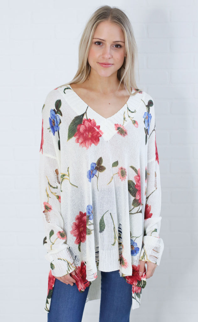 show me your mumu: cliffside distressed sweater - florence floral knit