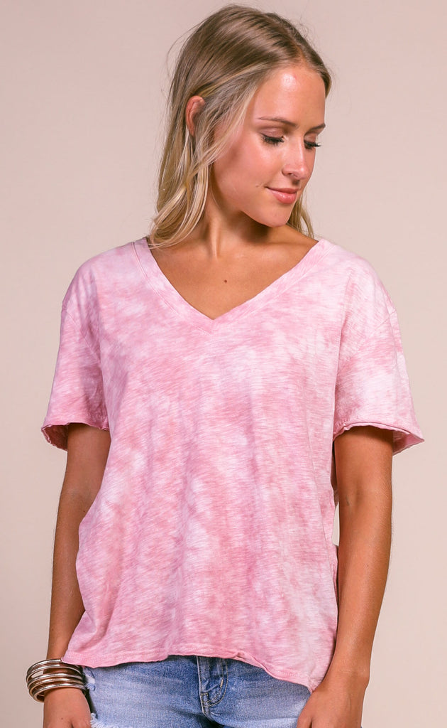 z supply: the cloud tie dye tee - zephyr pink