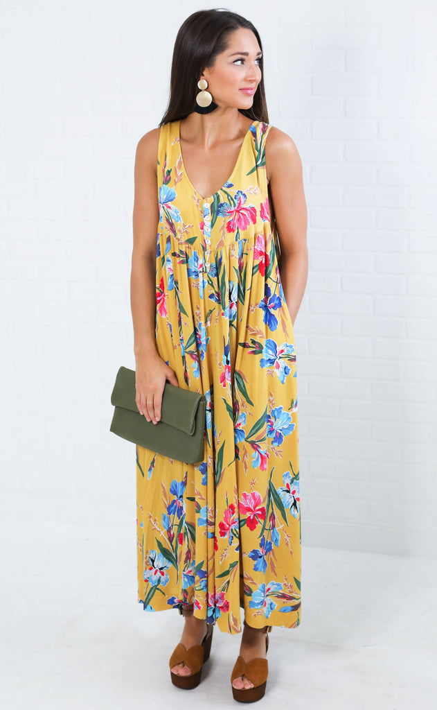 coast to coast floral jumpsuit - mustard
