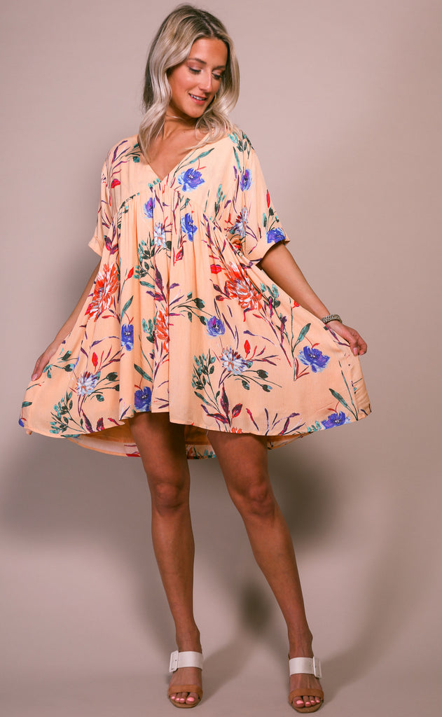 coconut cove babydoll dress - peach multi