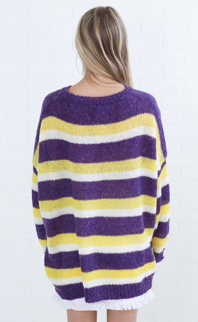 collegiate striped sweater - purple