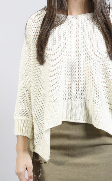 color crush knit sweater - ivory