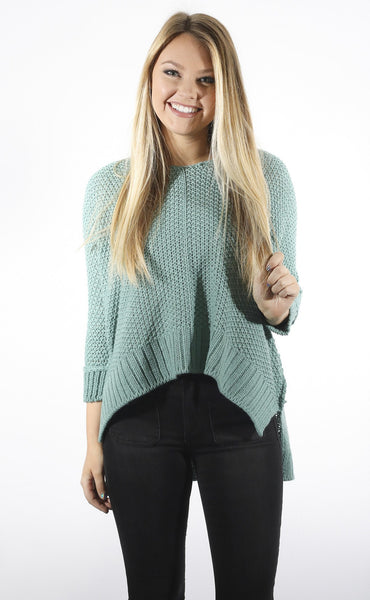 color crush knit sweater - teal