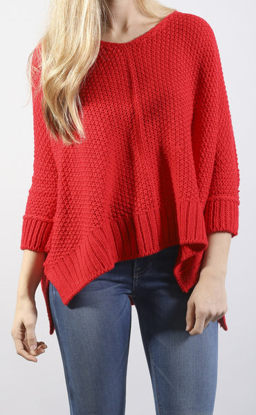 color crush knit sweater - red