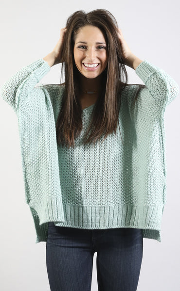 color crush knit sweater - sage