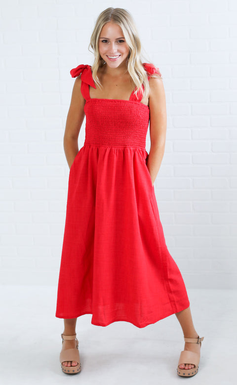 color my world midi dress - red