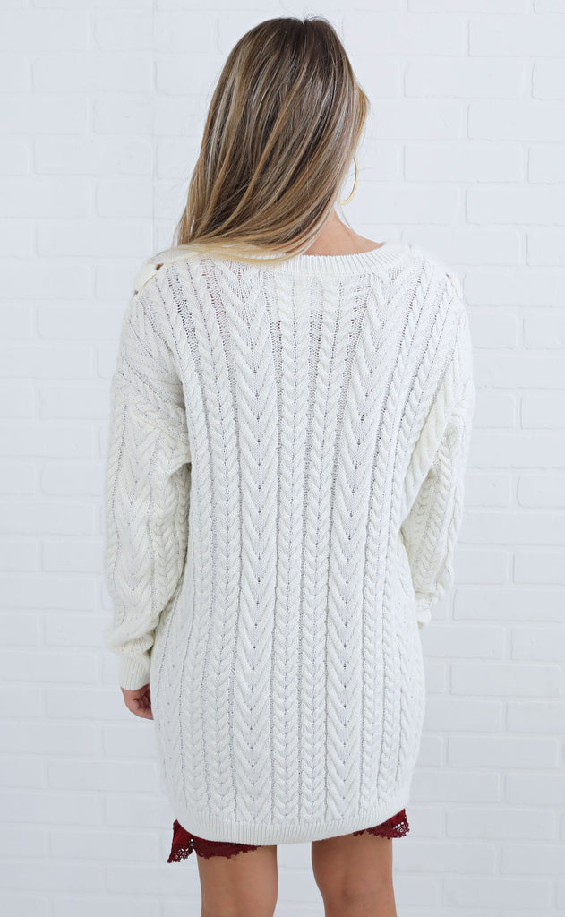 come clean lace up sweater