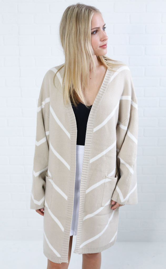 come together striped cardigan