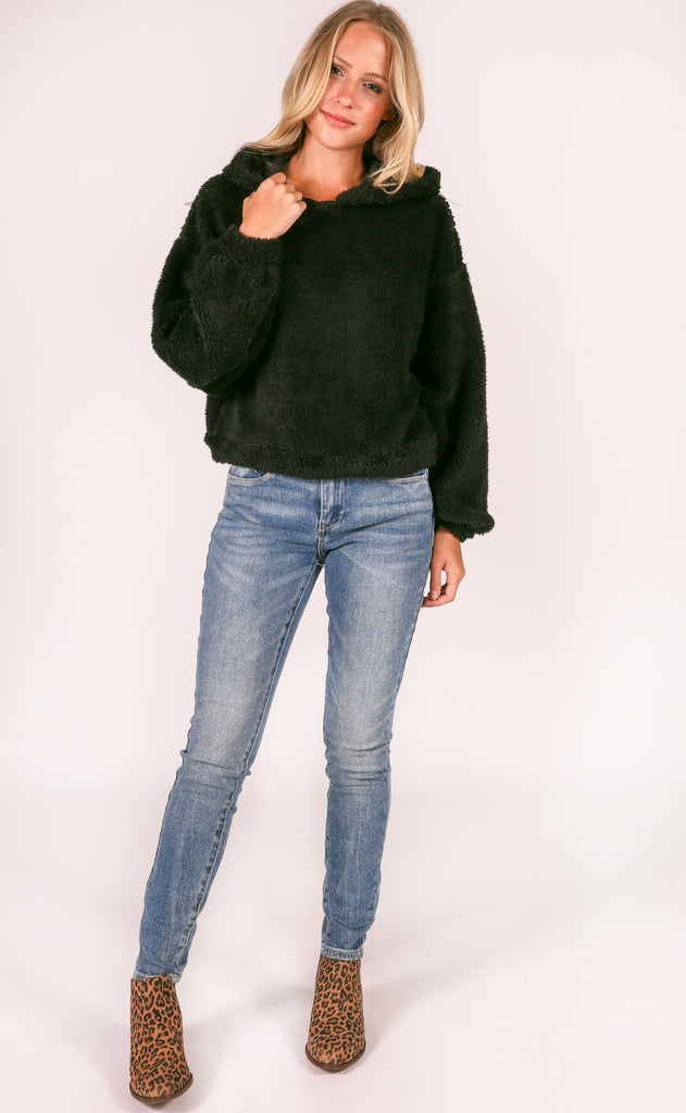 comfort is key fuzzy pullover - black