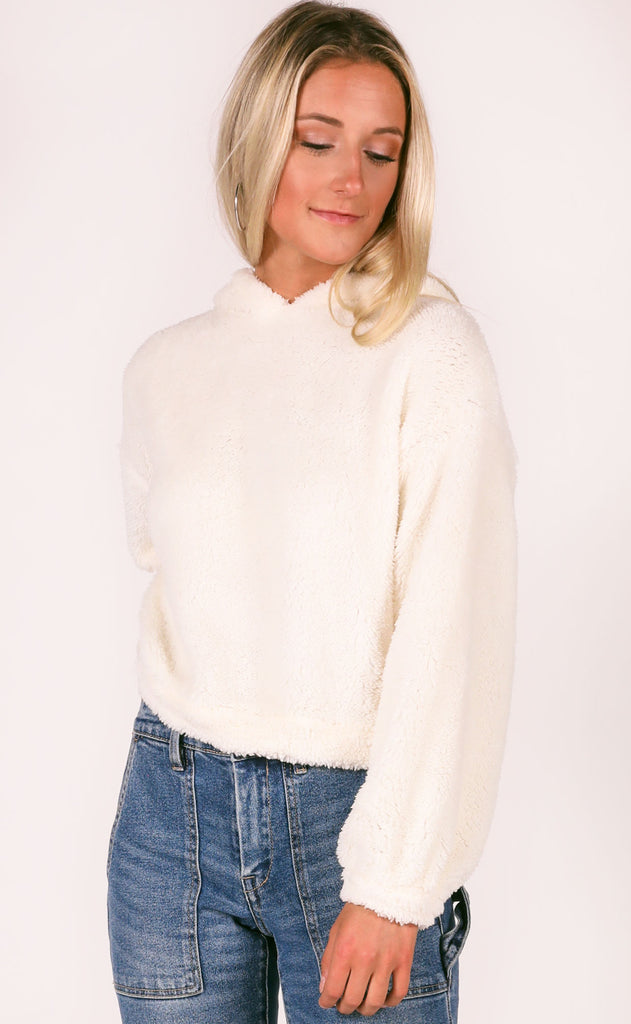 comfort is key fuzzy pullover - ivory