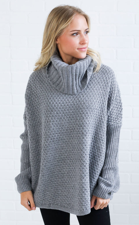 comfy cozy chunky sweater - grey