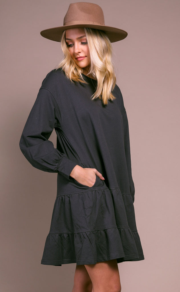 comfy cozy sweatshirt dress - charcoal