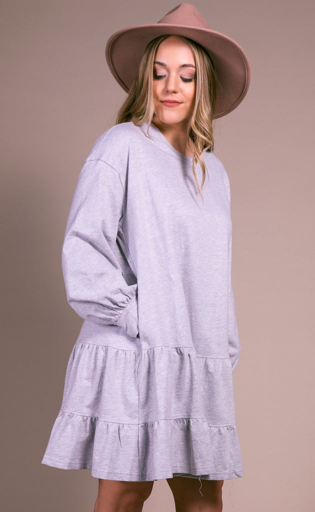 comfy cozy sweatshirt dress - heather gray