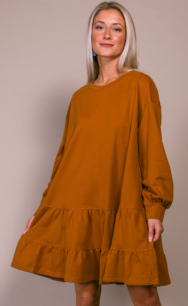 comfy cozy sweatshirt dress - butterscotch