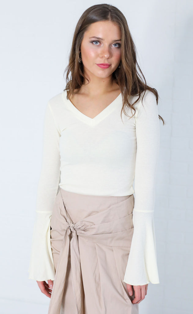 cool breeze bell sleeve top - ivory