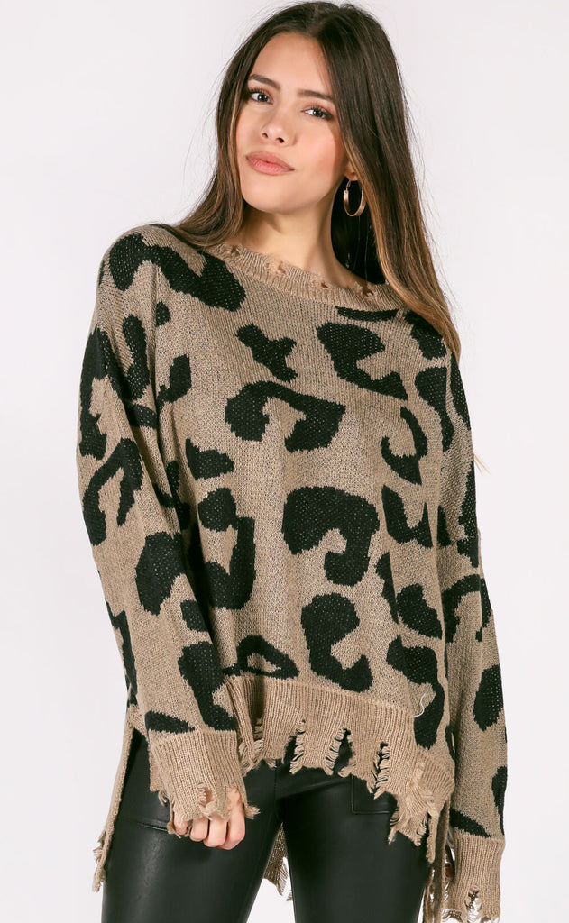 cool cat knit sweater - mushroom
