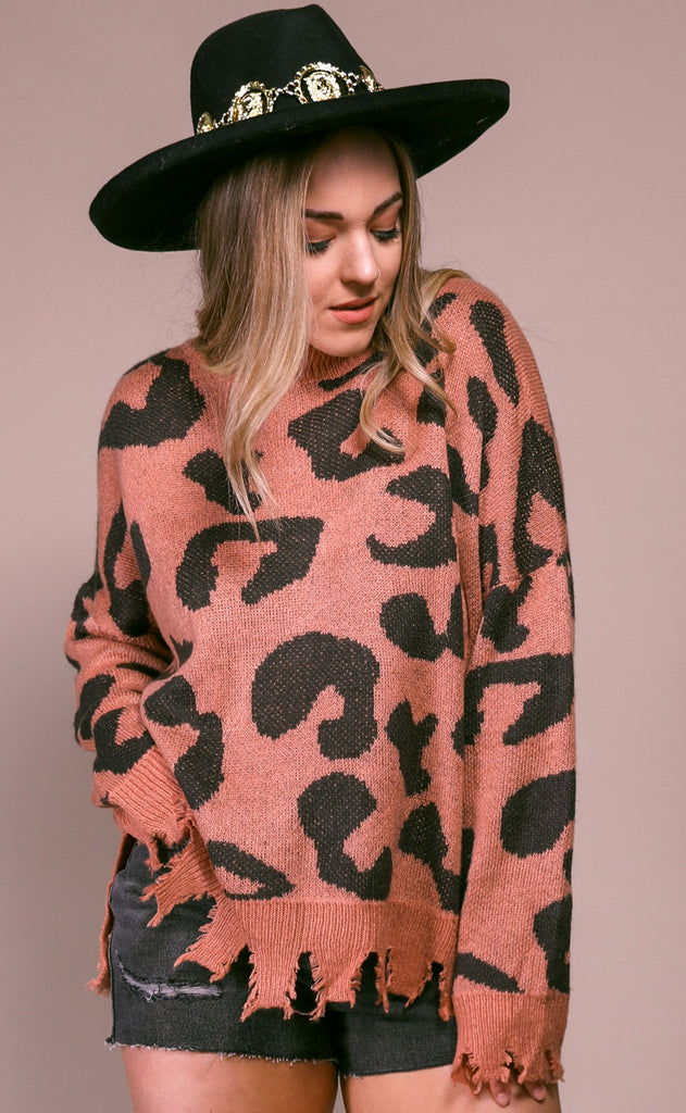 cool cat knit sweater - faded coral