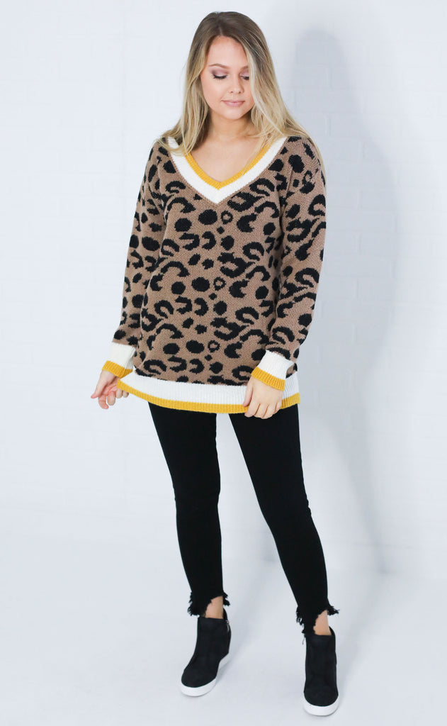 copycat leopard sweater - yellow