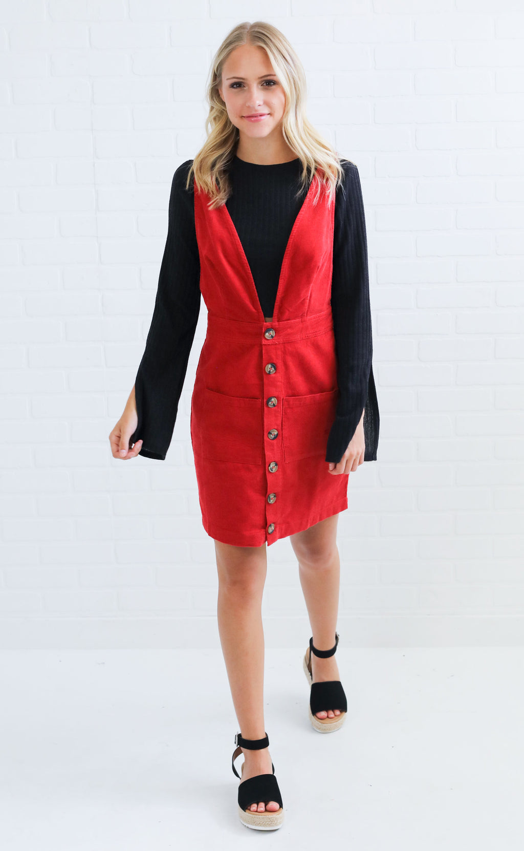 corduroy classic button up dress - red
