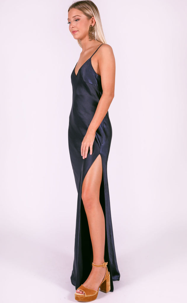 cosmo silky dress - navy