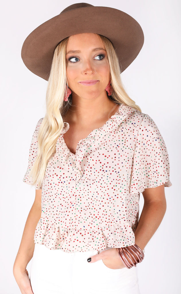 cotton candy polkadot top