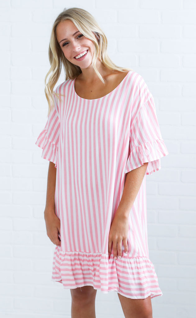cotton candy striped dress - pink