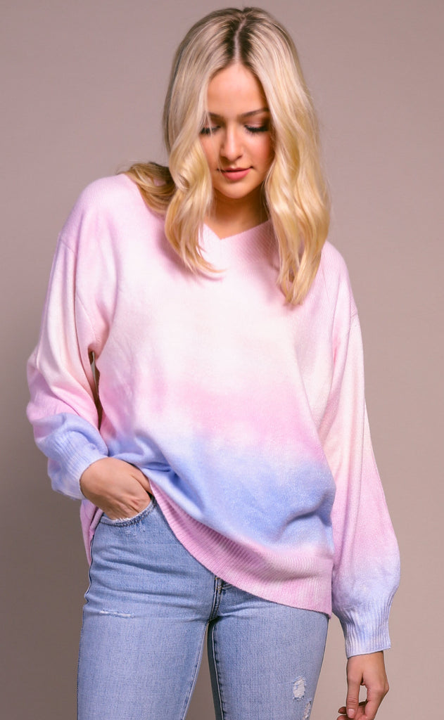 cotton candy v-neck sweater