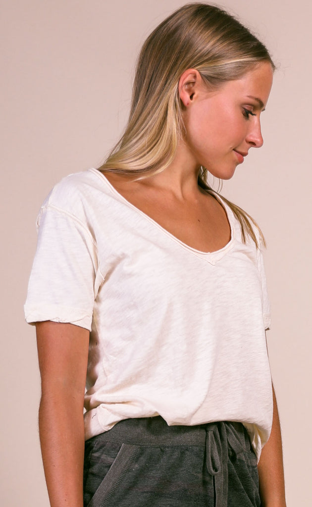 z supply: the cotton slub v-neck tee - natural