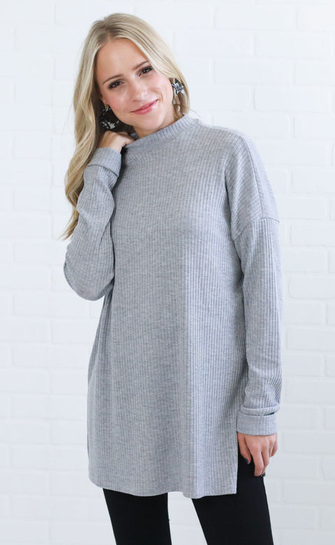 cozy and cute ribbed top - grey
