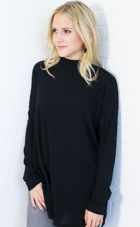 cozy and cute ribbed top - black
