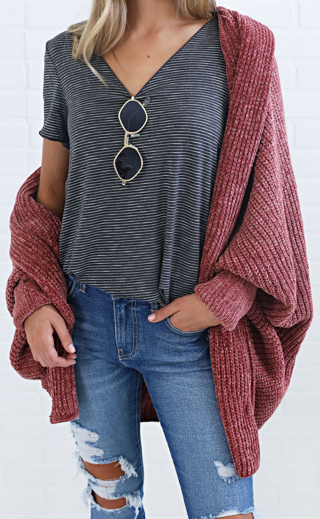 cozy days chenille sweater - dusty rose