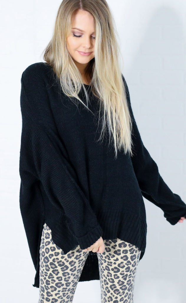 cozy moment knit sweater - black