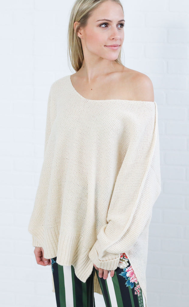 cozy moment knit sweater - ivory