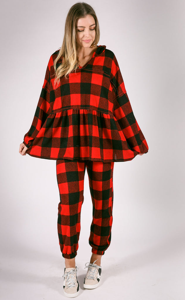 cozy nights checkered top