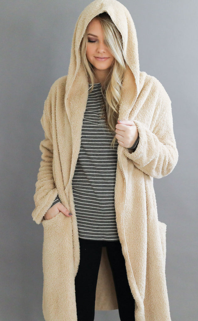 cozy time fuzzy cardigan - taupe