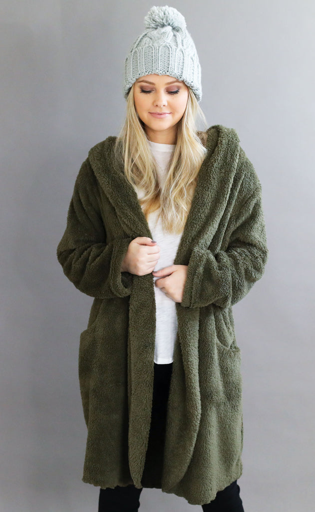cozy time fuzzy cardigan - olive