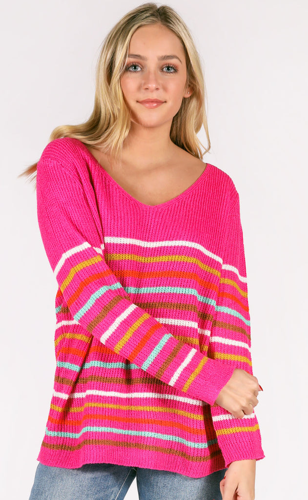crayola striped sweater - hot pink