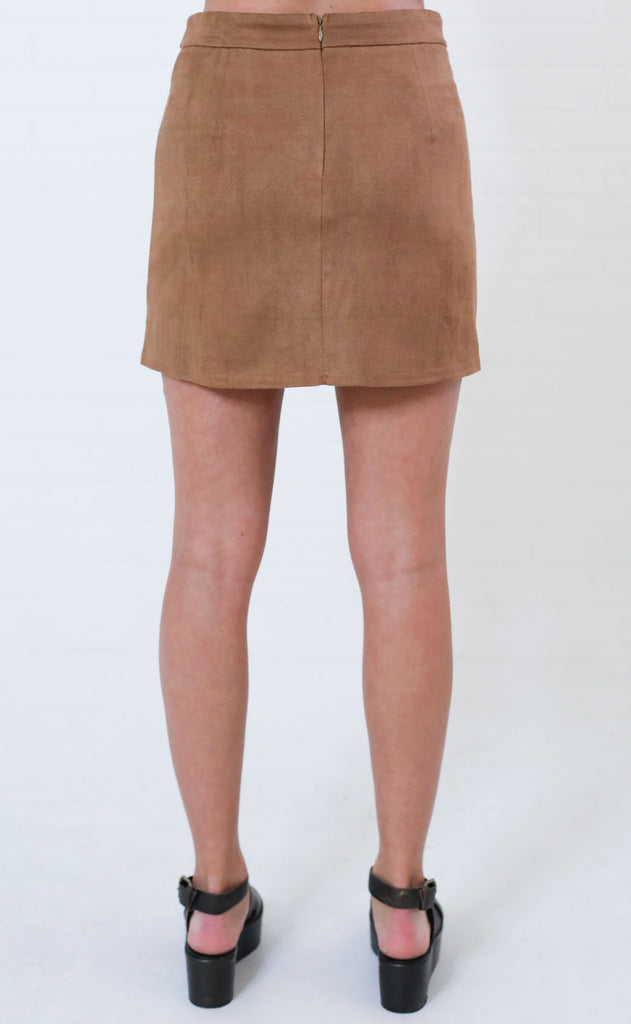 criss cross suede skirt - camel