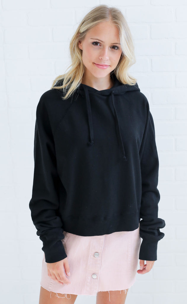 crop it pullover - black