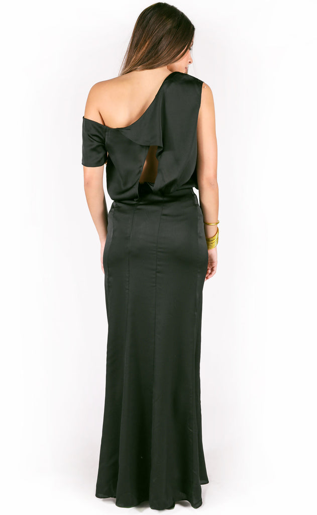 cross my heart one shoulder dress - black