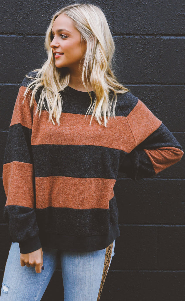 crossroads striped sweater - charcoal/rust
