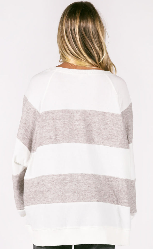 crossroads striped sweater - grey/ivory