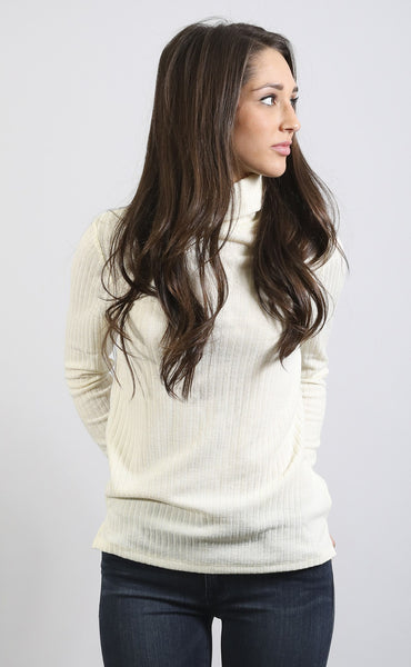 crush on you turtleneck top - ivory