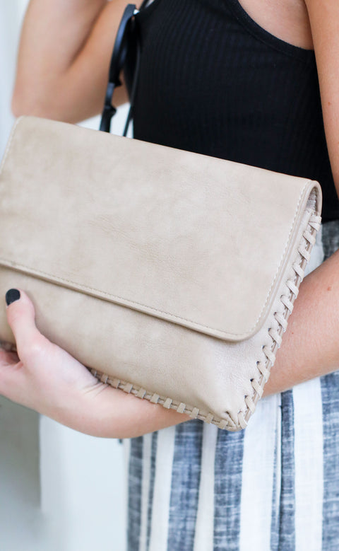 whipstitch fold over clutch - tan