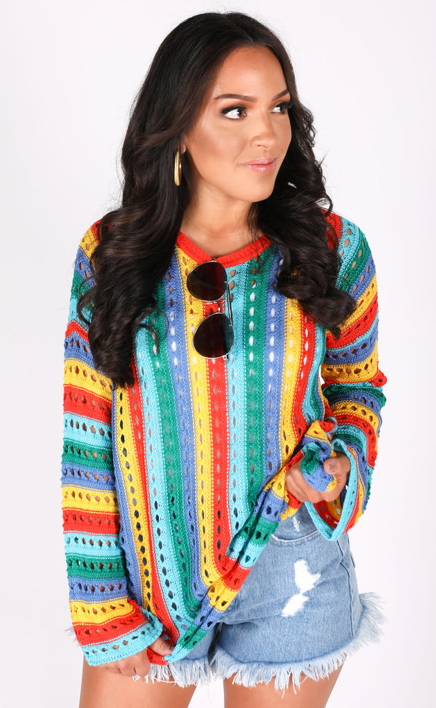 show me your mumu: cruz sweater - rainbow tropic knit
