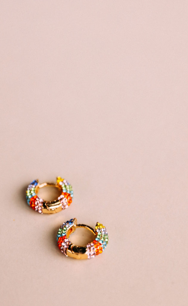 crystal huggie earrings - multi