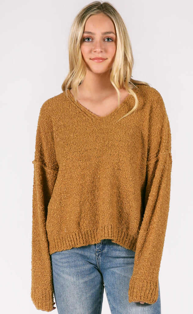 cuddle up v-neck sweater - mustard