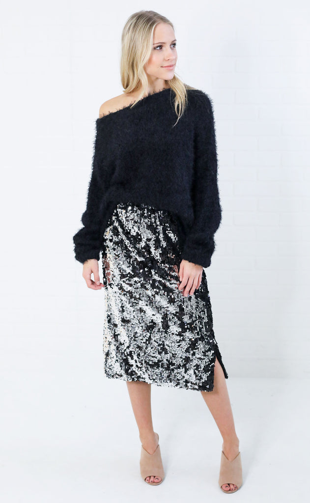 dance all night sequin skirt - black