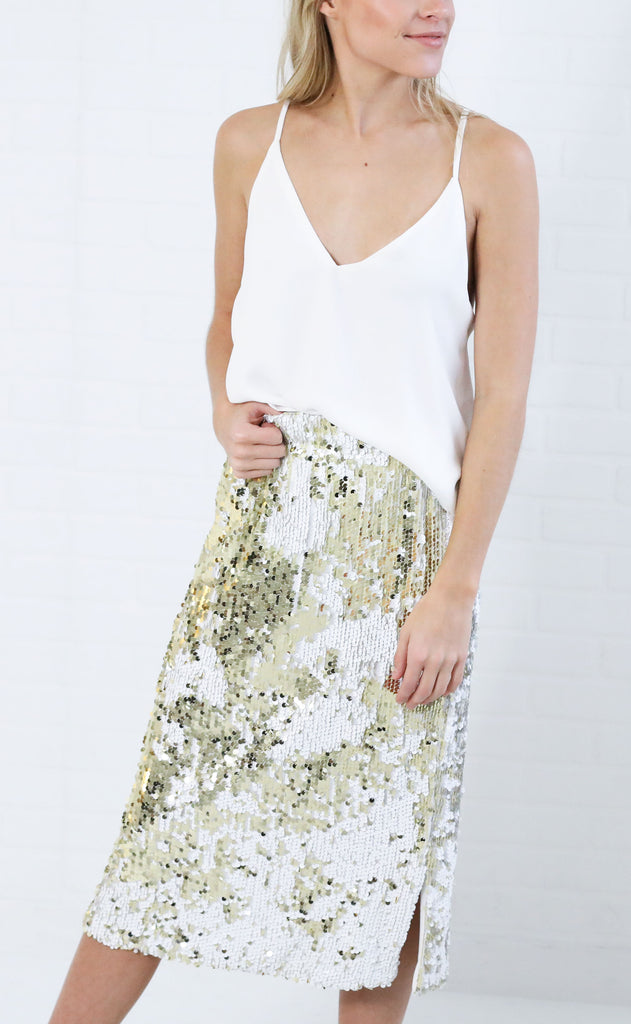dance all night sequin skirt - white